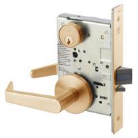 AUR8805FL-612 Yale 8800FL Series Single Cylinder Mortise Storeroom/Closet Locks with Augusta Lever in Satin Bronze