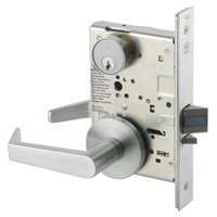 AUR8807FL-618 Yale 8800FL Series Single Cylinder Mortise Entrance Locks with Augusta Lever in Bright Nickel