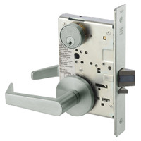 AUR8824FL-619 Yale 8800FL Series Single Cylinder Mortise Hold Back Locks with Augusta Lever in Satin Nickel