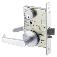 AUR8824FL-625 Yale 8800FL Series Single Cylinder Mortise Hold Back Locks with Augusta Lever in Bright Chrome