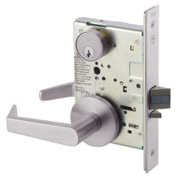 AUR8824FL-630 Yale 8800FL Series Single Cylinder Mortise Hold Back Locks with Augusta Lever in Satin Stainless Steel