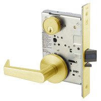 AUR8829FL-605 Yale 8800FL Series Single Cylinder Mortise Closet Locks with Augusta Lever in Bright Brass