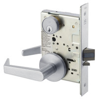 AUR8864FL-626 Yale 8800FL Series Single Cylinder Mortise Bathroom Lock with Indicator with Augusta Lever in Satin Chrome