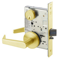 AUR8864FL-605 Yale 8800FL Series Single Cylinder Mortise Bathroom Lock with Indicator with Augusta Lever in Bright Brass