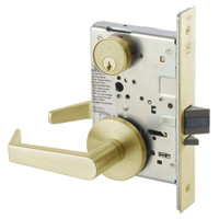 AUR8864FL-606 Yale 8800FL Series Single Cylinder Mortise Bathroom Lock with Indicator with Augusta Lever in Satin Brass