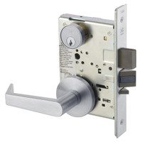 AUR8823FL-626 Yale 8800FL Series Single Cylinder with Deadbolt Mortise Storeroom Lock with Indicator with Augusta Lever in Satin Chrome