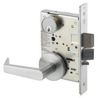 AUR8823FL-618 Yale 8800FL Series Single Cylinder with Deadbolt Mortise Storeroom Lock with Indicator with Augusta Lever in Bright Nickel