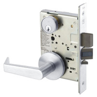 AUR8823FL-625 Yale 8800FL Series Single Cylinder with Deadbolt Mortise Storeroom Lock with Indicator with Augusta Lever in Bright Chrome