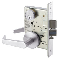 AUR8860FL-629 Yale 8800FL Series Single Cylinder with Deadbolt Mortise Entrance or Storeroom Lock with Indicator with Augusta Lever in Bright Stainless Steel