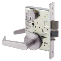 AUR8860FL-630 Yale 8800FL Series Single Cylinder with Deadbolt Mortise Entrance or Storeroom Lock with Indicator with Augusta Lever in Satin Stainless Steel