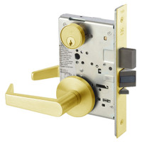 AUR8860-2FL-605 Yale 8800FL Series Double Cylinder with Deadbolt Mortise Entrance or Storeroom Lock with Indicator with Augusta Lever in Bright Brass