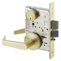 AUR8860-2FL-606 Yale 8800FL Series Double Cylinder with Deadbolt Mortise Entrance or Storeroom Lock with Indicator with Augusta Lever in Satin Brass