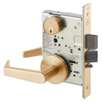 AUR8860-2FL-612 Yale 8800FL Series Double Cylinder with Deadbolt Mortise Entrance or Storeroom Lock with Indicator with Augusta Lever in Satin Bronze
