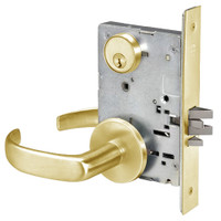 PBR8807FL-605 Yale 8800FL Series Single Cylinder Mortise Entrance Locks with Pacific Beach Lever in Bright Brass