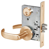 PBR8807FL-612 Yale 8800FL Series Single Cylinder Mortise Entrance Locks with Pacific Beach Lever in Satin Bronze