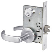 PBR8824FL-626 Yale 8800FL Series Single Cylinder Mortise Hold Back Locks with Pacific Beach Lever in Satin Chrome