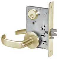 PBR8824FL-606 Yale 8800FL Series Single Cylinder Mortise Hold Back Locks with Pacific Beach Lever in Satin Brass