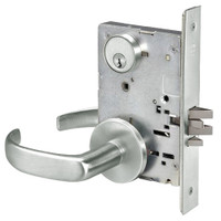 PBR8824FL-618 Yale 8800FL Series Single Cylinder Mortise Hold Back Locks with Pacific Beach Lever in Bright Nickel