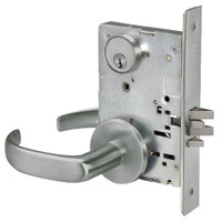 PBR8824FL-619 Yale 8800FL Series Single Cylinder Mortise Hold Back Locks with Pacific Beach Lever in Satin Nickel