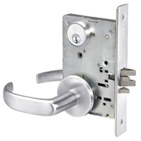 PBR8824FL-625 Yale 8800FL Series Single Cylinder Mortise Hold Back Locks with Pacific Beach Lever in Bright Chrome