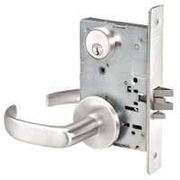PBR8824FL-629 Yale 8800FL Series Single Cylinder Mortise Hold Back Locks with Pacific Beach Lever in Bright Stainless Steel