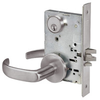 PBR8824FL-630 Yale 8800FL Series Single Cylinder Mortise Hold Back Locks with Pacific Beach Lever in Satin Stainless Steel