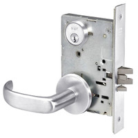 PBR8829FL-625 Yale 8800FL Series Single Cylinder Mortise Closet Locks with Pacific Beach Lever in Bright Chrome