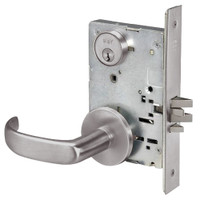 PBR8829FL-630 Yale 8800FL Series Single Cylinder Mortise Closet Locks with Pacific Beach Lever in Satin Stainless Steel