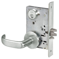 PBR8833FL-618 Yale 8800FL Series Single Cylinder Mortise Exit Locks with Pacific Beach Lever in Bright Nickel