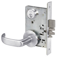 PBR8823FL-626 Yale 8800FL Series Single Cylinder with Deadbolt Mortise Storeroom Lock with Indicator with Pacific Beach Lever in Satin Chrome