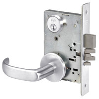 PBR8823FL-625 Yale 8800FL Series Single Cylinder with Deadbolt Mortise Storeroom Lock with Indicator with Pacific Beach Lever in Bright Chrome