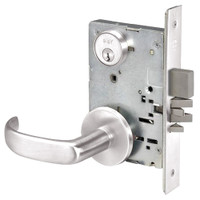 PBR8823FL-629 Yale 8800FL Series Single Cylinder with Deadbolt Mortise Storeroom Lock with Indicator with Pacific Beach Lever in Bright Stainless Steel