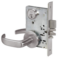 PBR8860FL-630 Yale 8800FL Series Single Cylinder with Deadbolt Mortise Entrance or Storeroom Lock with Indicator with Pacific Beach Lever in Satin Stainless Steel