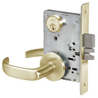 PBR8860-2FL-606 Yale 8800FL Series Double Cylinder with Deadbolt Mortise Entrance or Storeroom Lock with Indicator with Pacific Beach Lever in Satin Brass