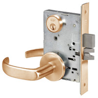 PBR8860-2FL-612 Yale 8800FL Series Double Cylinder with Deadbolt Mortise Entrance or Storeroom Lock with Indicator with Pacific Beach Lever in Satin Bronze