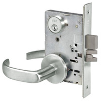 PBR8860-2FL-618 Yale 8800FL Series Double Cylinder with Deadbolt Mortise Entrance or Storeroom Lock with Indicator with Pacific Beach Lever in Bright Nickel