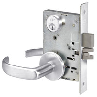 PBR8860-2FL-625 Yale 8800FL Series Double Cylinder with Deadbolt Mortise Entrance or Storeroom Lock with Indicator with Pacific Beach Lever in Bright Chrome