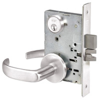 PBR8860-2FL-629 Yale 8800FL Series Double Cylinder with Deadbolt Mortise Entrance or Storeroom Lock with Indicator with Pacific Beach Lever in Bright Stainless Steel