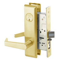 AUCN8807FL-605 Yale 8800FL Series Single Cylinder Mortise Entrance Locks with Augusta Lever in Bright Brass