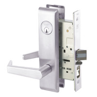 AUCN8807FL-629 Yale 8800FL Series Single Cylinder Mortise Entrance Locks with Augusta Lever in Bright Stainless Steel