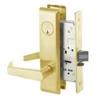 AUCN8824FL-605 Yale 8800FL Series Single Cylinder Mortise Hold Back Locks with Augusta Lever in Bright Brass