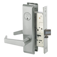 AUCN8824FL-619 Yale 8800FL Series Single Cylinder Mortise Hold Back Locks with Augusta Lever in Satin Nickel