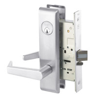 AUCN8824FL-625 Yale 8800FL Series Single Cylinder Mortise Hold Back Locks with Augusta Lever in Bright Chrome