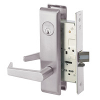 AUCN8824FL-630 Yale 8800FL Series Single Cylinder Mortise Hold Back Locks with Augusta Lever in Satin Stainless Steel