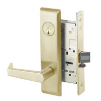AUCN8829FL-606 Yale 8800FL Series Single Cylinder Mortise Closet Locks with Augusta Lever in Satin Brass