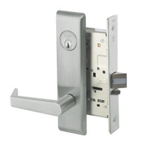 AUCN8829FL-619 Yale 8800FL Series Single Cylinder Mortise Closet Locks with Augusta Lever in Satin Nickel