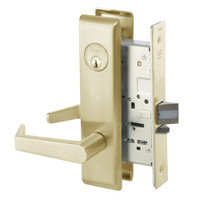 AUCN8864FL-606 Yale 8800FL Series Single Cylinder Mortise Bathroom Lock with Indicator with Augusta Lever in Satin Brass