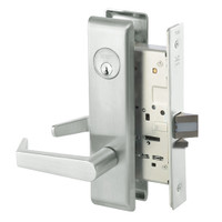 AUCN8864FL-618 Yale 8800FL Series Single Cylinder Mortise Bathroom Lock with Indicator with Augusta Lever in Bright Nickel
