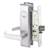 AUCN8864FL-629 Yale 8800FL Series Single Cylinder Mortise Bathroom Lock with Indicator with Augusta Lever in Bright Stainless Steel