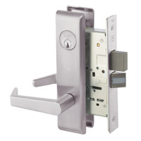 AUCN8822FL-630 Yale 8800FL Series Single Cylinder with Deadbolt Mortise Bathroom Lock with Indicator with Augusta Lever in Satin Stainless Steel